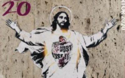 Arte de rua no selo do Vaticano para a Páscoa