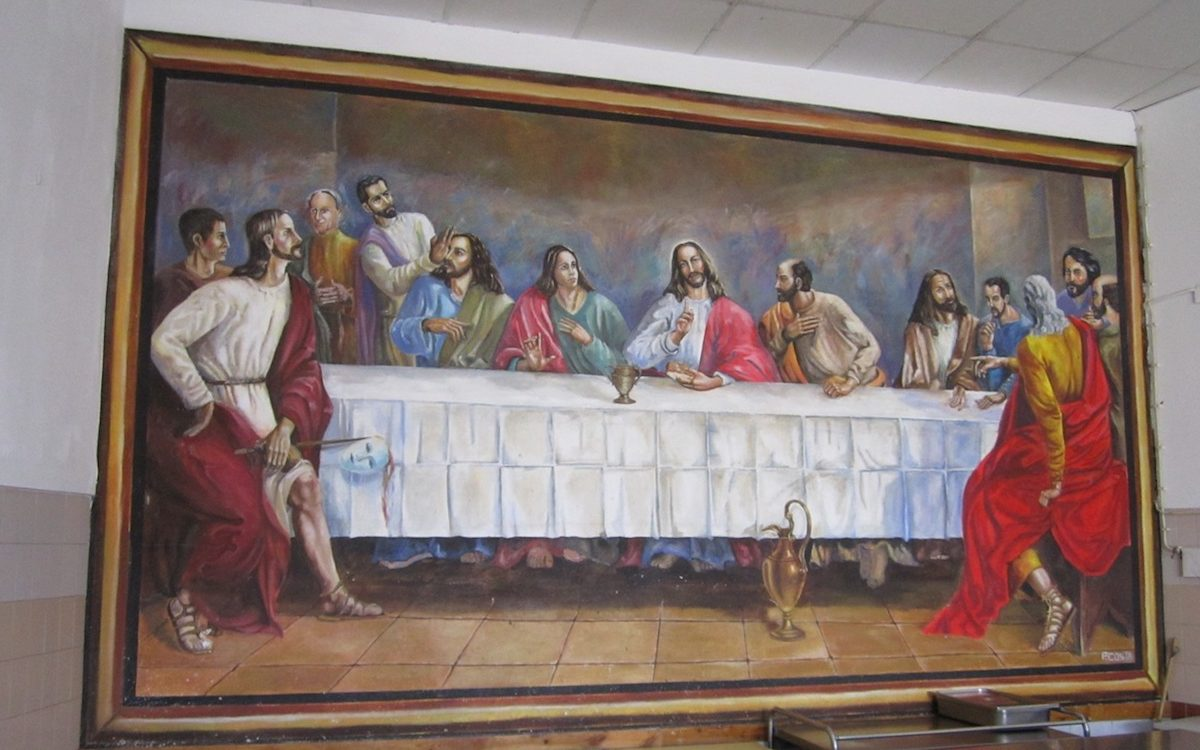 Quadro alusivo à Última Ceia, pintado pelos detidos do Estabelecimento Prisional de Lisboa.
