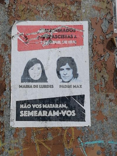 Padre Max e Maria de Lurdes evocados num cartaz colocado em Braga.