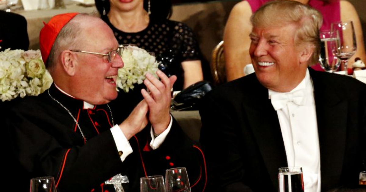 Donald Trump smiles as he sits next to New York Cardinal Timothy Dolan during the Alfred E. Smith Memorial Foundation Dinner in New York City Oct. 20. (CNS/Gregory A. Shemitz)