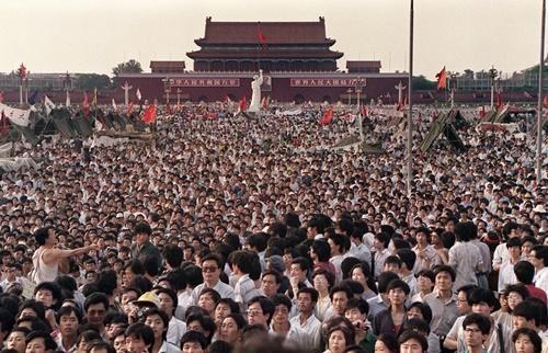 Manifestação pró-democracia. Tianamen. China. 1989