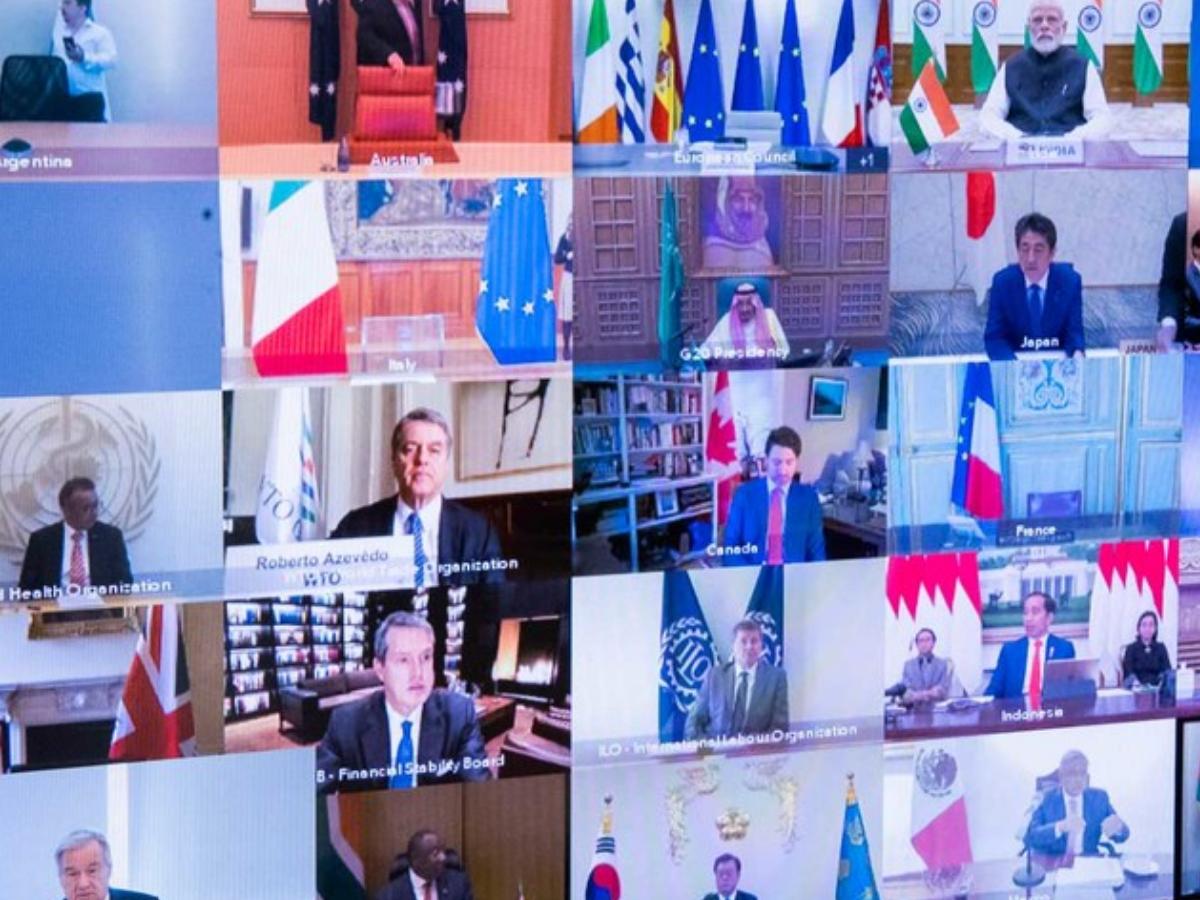 Reunião do G20, realizada a 26 de março, para debater a situação da pandemia de covid-19. Foto © ONU/Evan Schneider