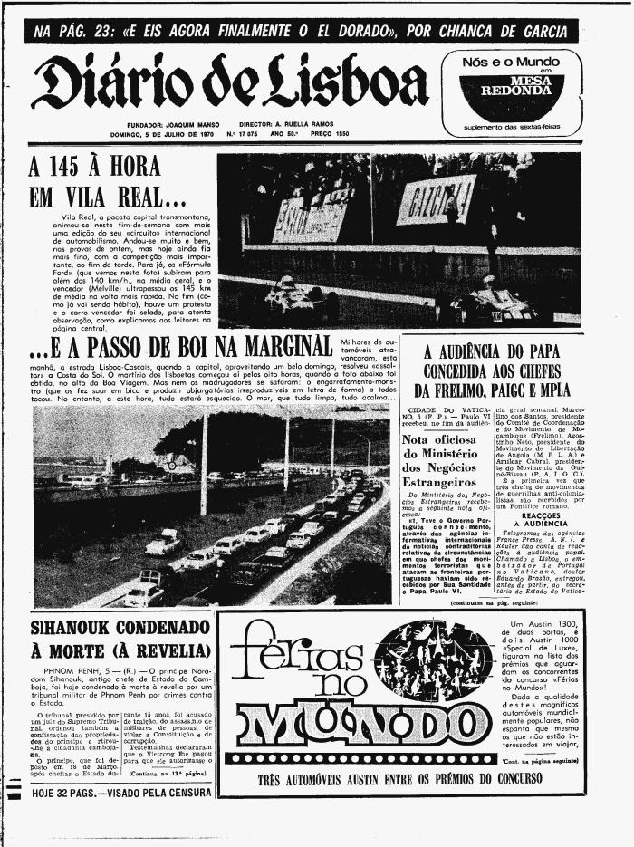 Diário de Lisboa. Papa Paulo VI. Guerra Colonial