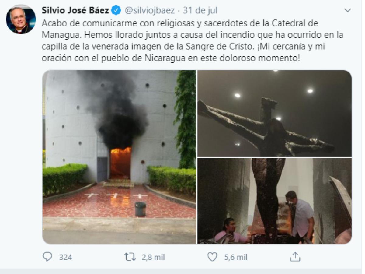 catedral managua ataque Foto Twitter Silvio Baez