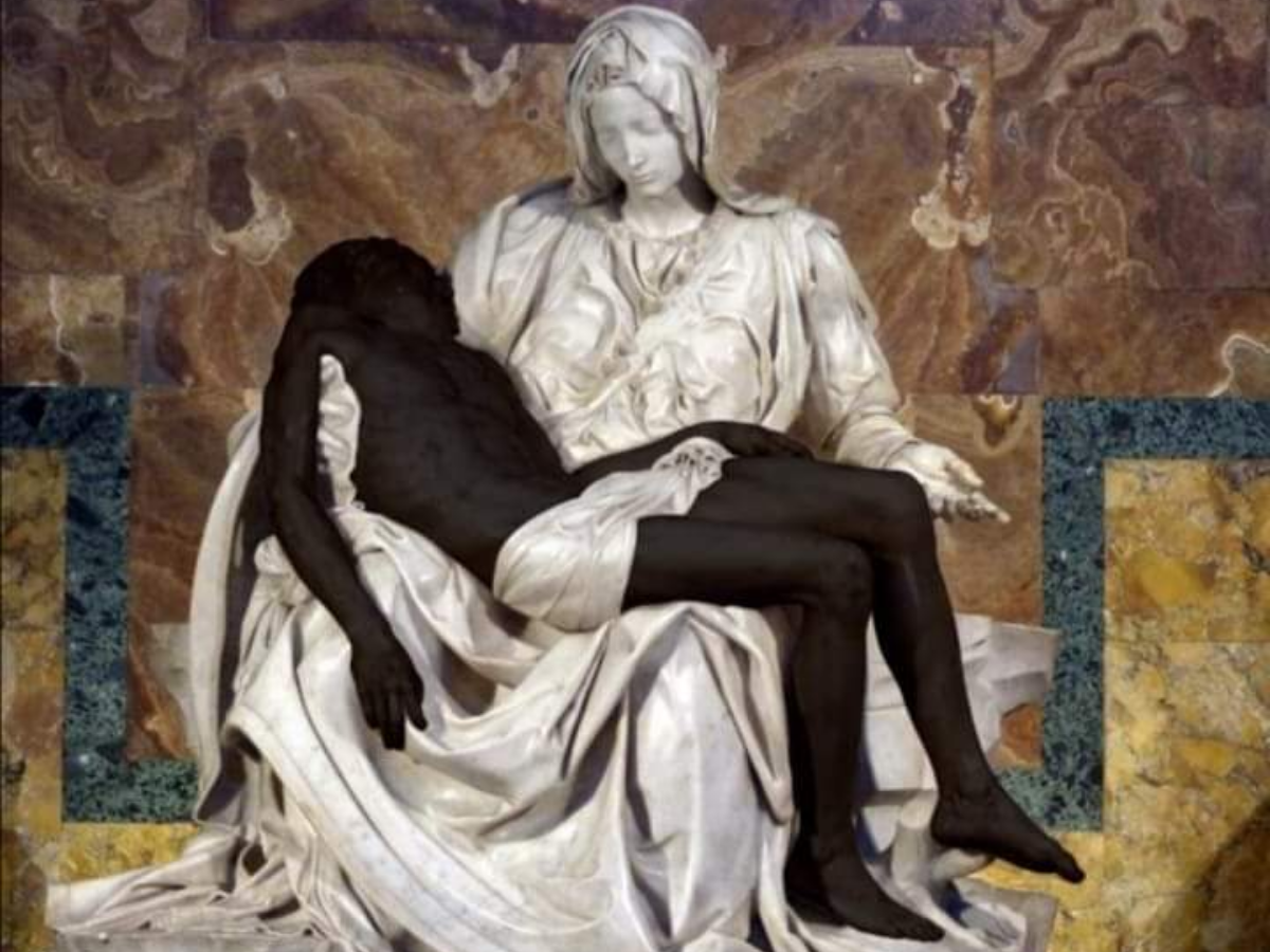 pieta black lives matter, Foto_ twitter Pontifical Academy for Life