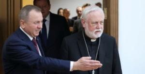 Ministro do Exterior bielorusso Vladimir Makei com o arcebispo Gallagher em Minsk, Foto_ Vatican News.