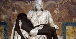 pieta black lives matter, Foto_ twitter Pontifical Academy for Life