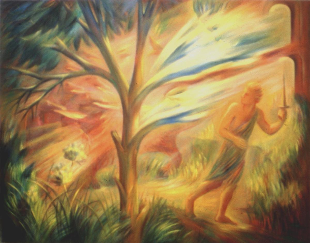 Apocalipse. A Árvore da VIda - O Combate.. Pintura  de Emília Nadal.