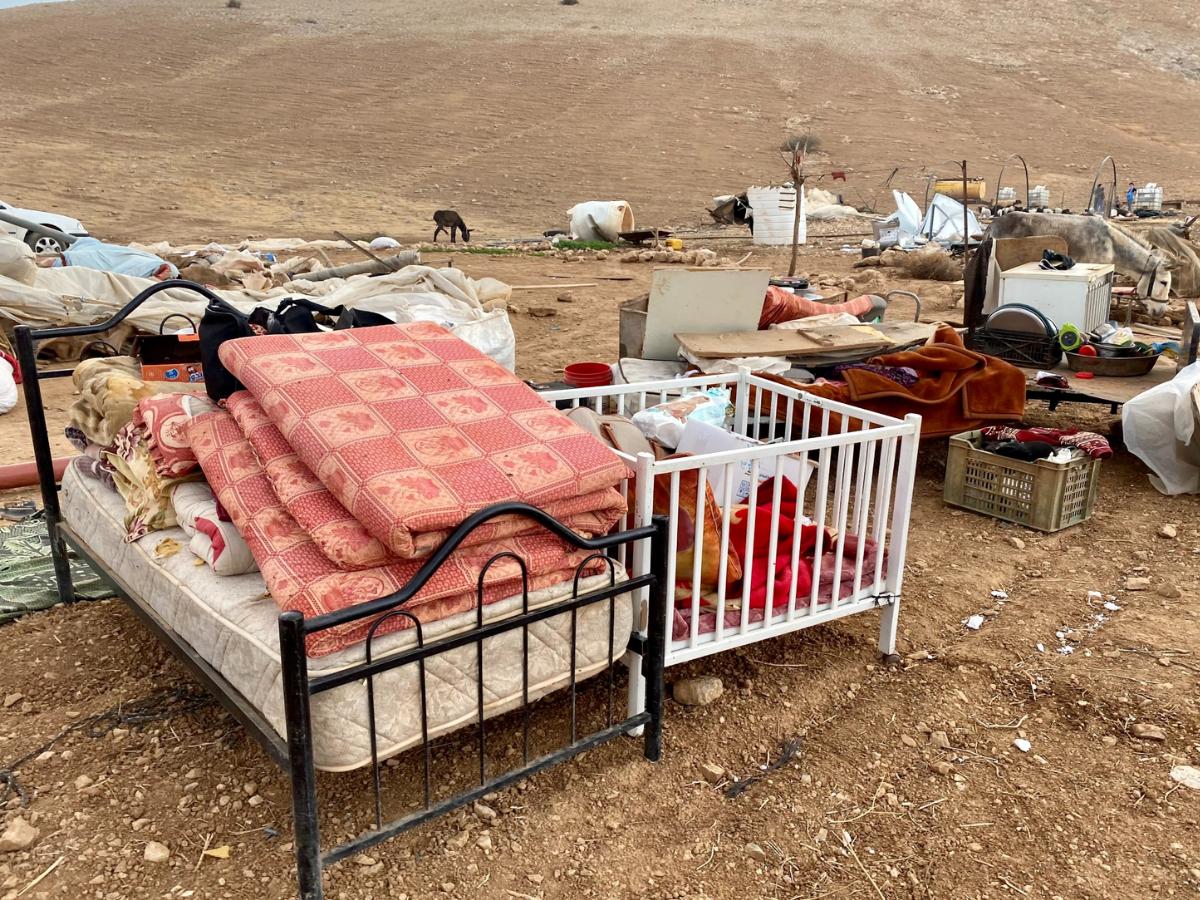 aldeia beduina demolida Cisjordania, Foto twitter OCHA