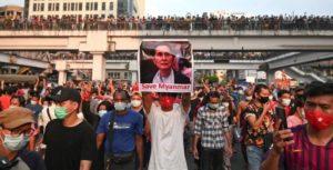 Birmânia, protesto, manifestação, golpe militar