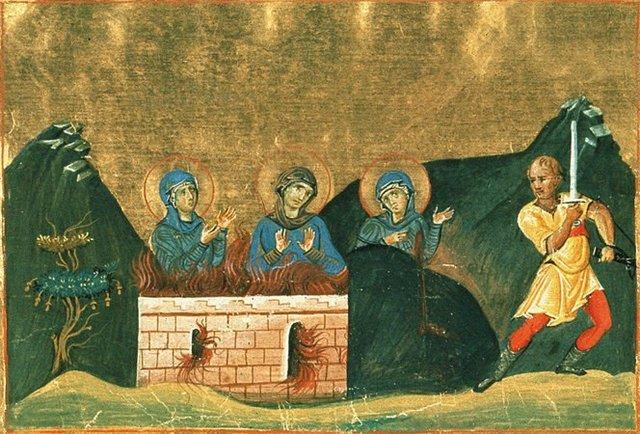 Sta Irene assiste ao martírio das irmãs - miniatura do manuscrito Menológio de Basilio II