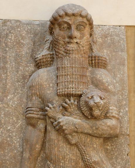 Relevo de um palácio assírio de Dur-Sharrukin, possivelmente representando Gilgamesh, Iraque