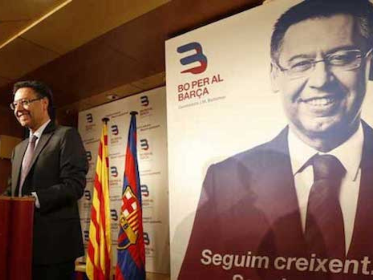 Josep Maria Bartomeu a apresentar a sua candidatura a presidente do FC Barcelona, em 2015. © Roderic Alves_Wikimedia Commons