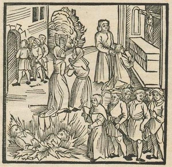 Ilustração alusiva ao massacre de Lisboa, de 1506.