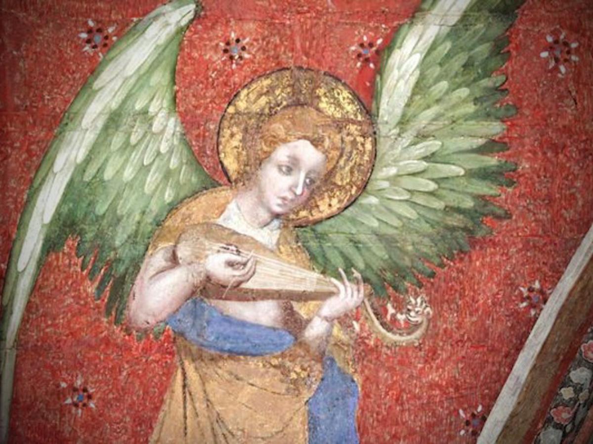 Jean de Bruges (c. 1377), um dos 47 anjos do Instrumentarium da catedral de Mans, na Capela da Virgem