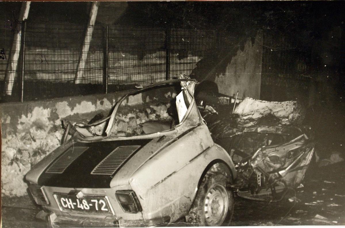 carro em que seguiam Maximino de Sousa e Maria de Lourdes