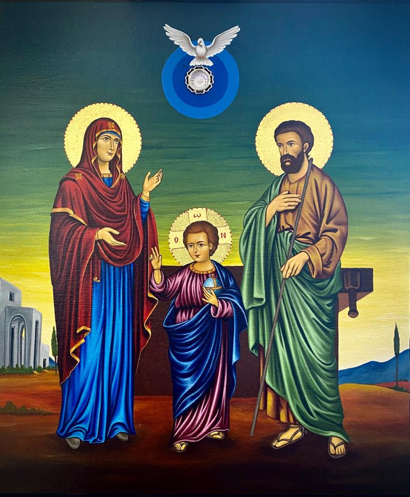 Icon of the Holy Family of Nazareth - It will be blessed by Cardinal Pierbattista Pizzaballa in Jerusalem on June 27th 2021. Once blessed, the Icon will go in a pilgrimage, starting from Lebanon, to the countries of the East, until its arrival to Rome toward the end of the year of St. Joseph, on December 8, 2021. From Rome, the Icon will travel back to the Holy Land where it will remain.Only small file quality available (Whats App file)