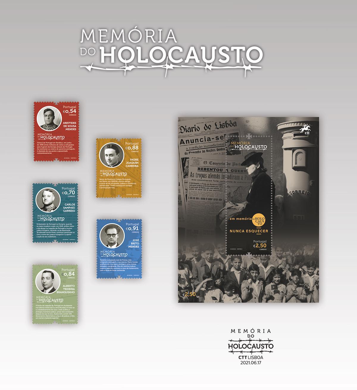 selos, memória, Holocausto, Aristides de Sousa Mendes, Carlos Sampaio Garrido, Alberto Teixeira Branquinho, padre Joaquim Carreira e José Brito Mendes.