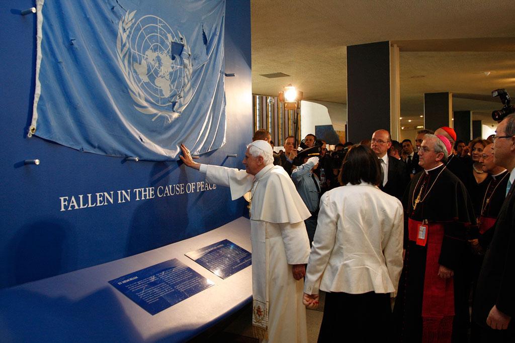 Papa Bento XVI na Assembleia Geral em 2008. ONU