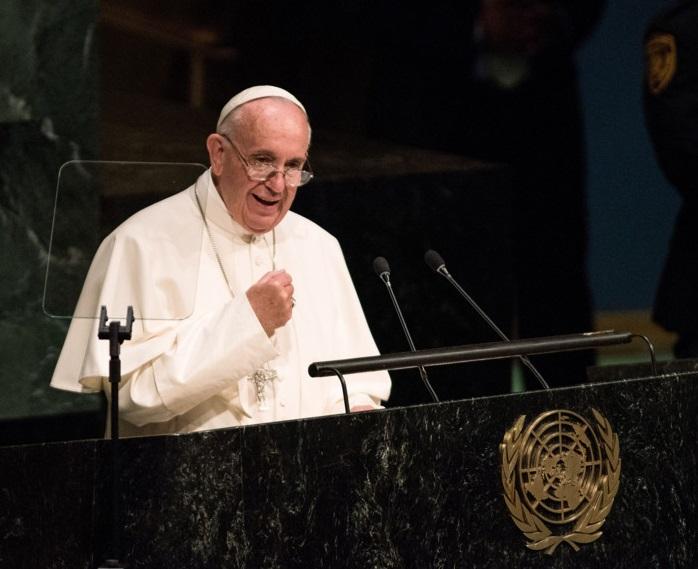 O Papa Francisco no seu discurso em 2015. ONU